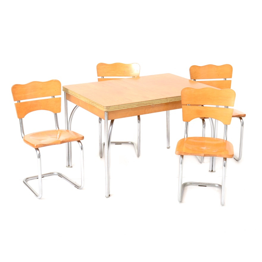 Hoosier Blonde Maple Kitchen Table And Chairs