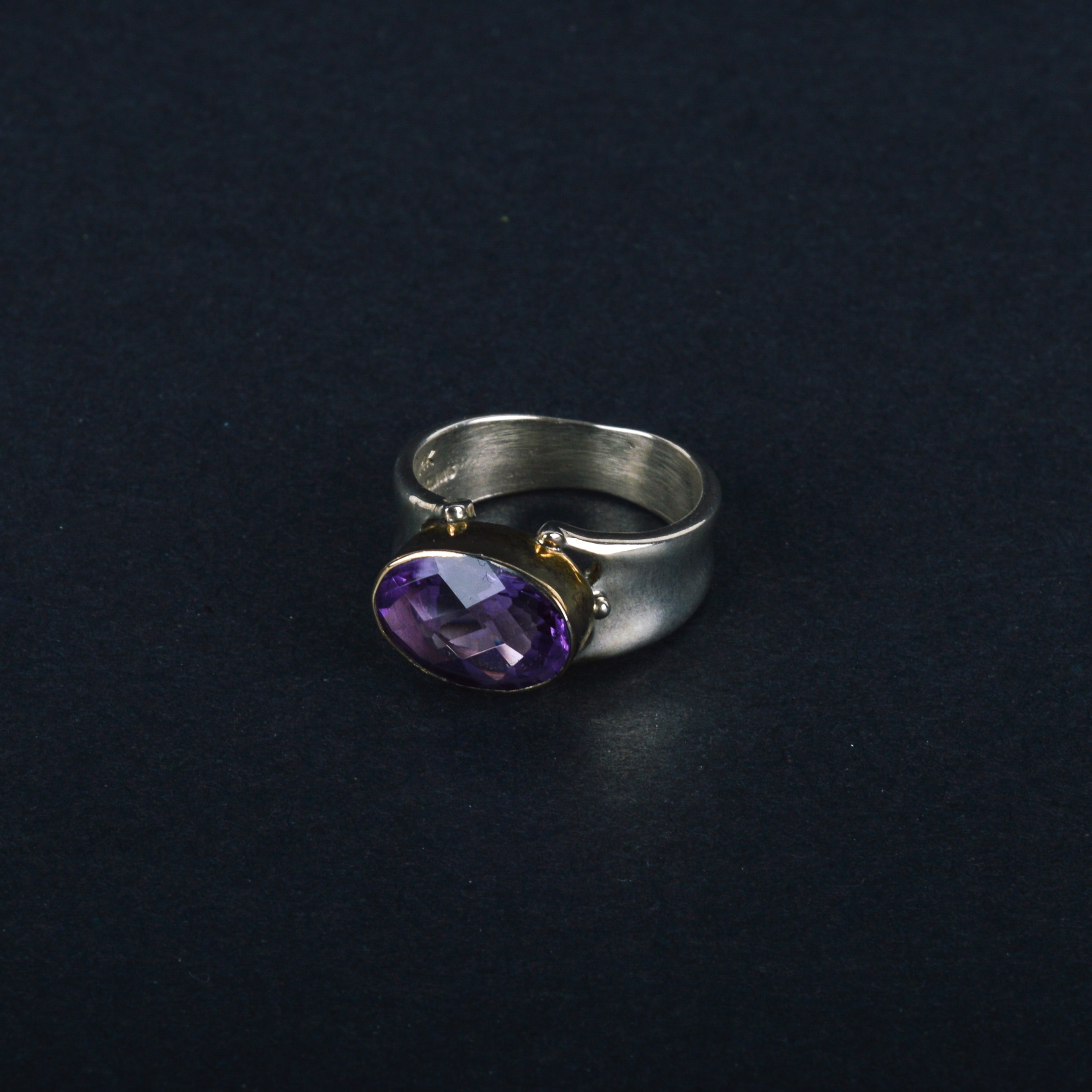 Sterling Amethyst ring with 14k yellow gold accent