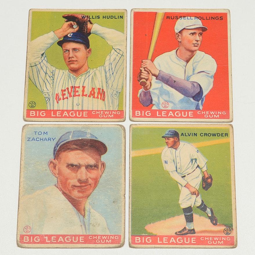 Four 1933 Goudey Gum Baseball Cards