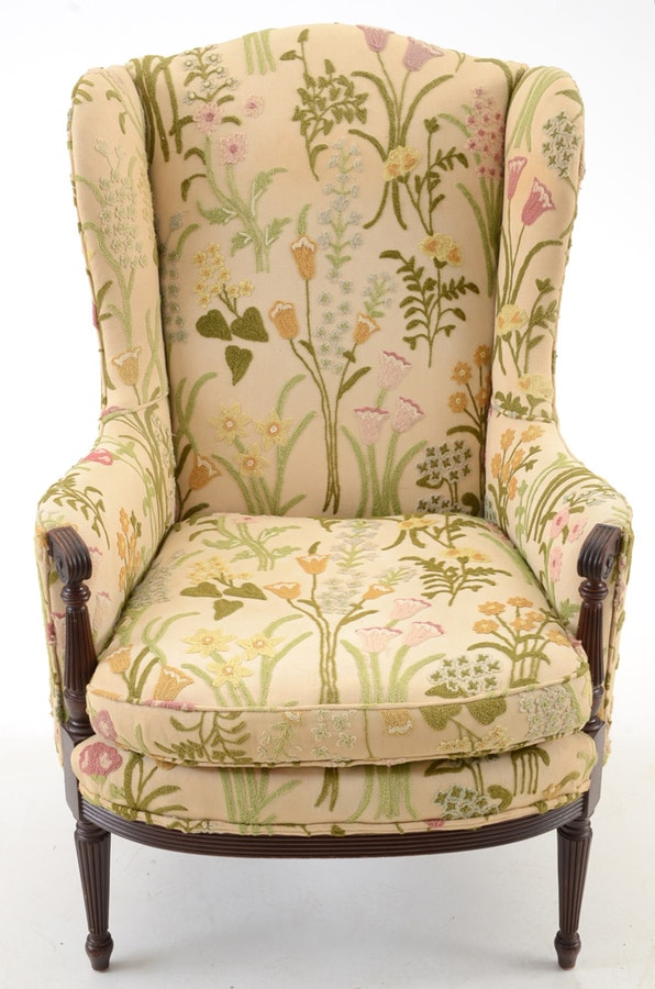 floral slipcovers for wingback chairs | Floral Upholstered Wingback Chair : EBTH