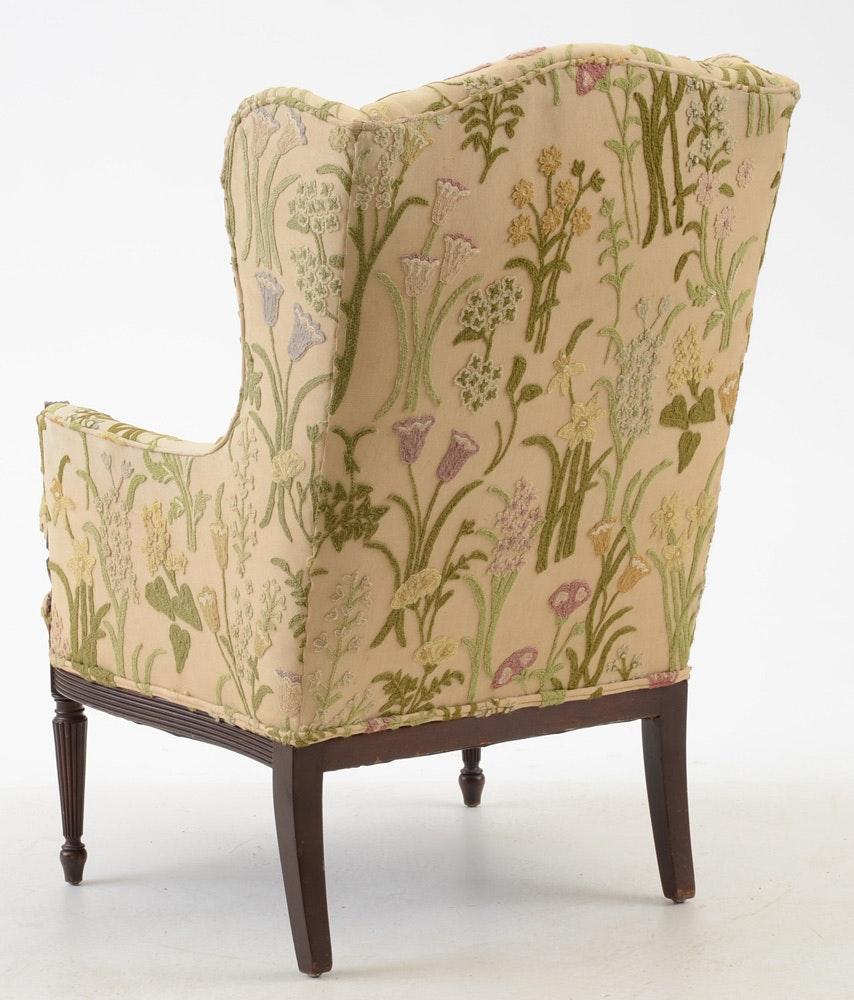 Floral Upholstered Wingback Chair Ebth