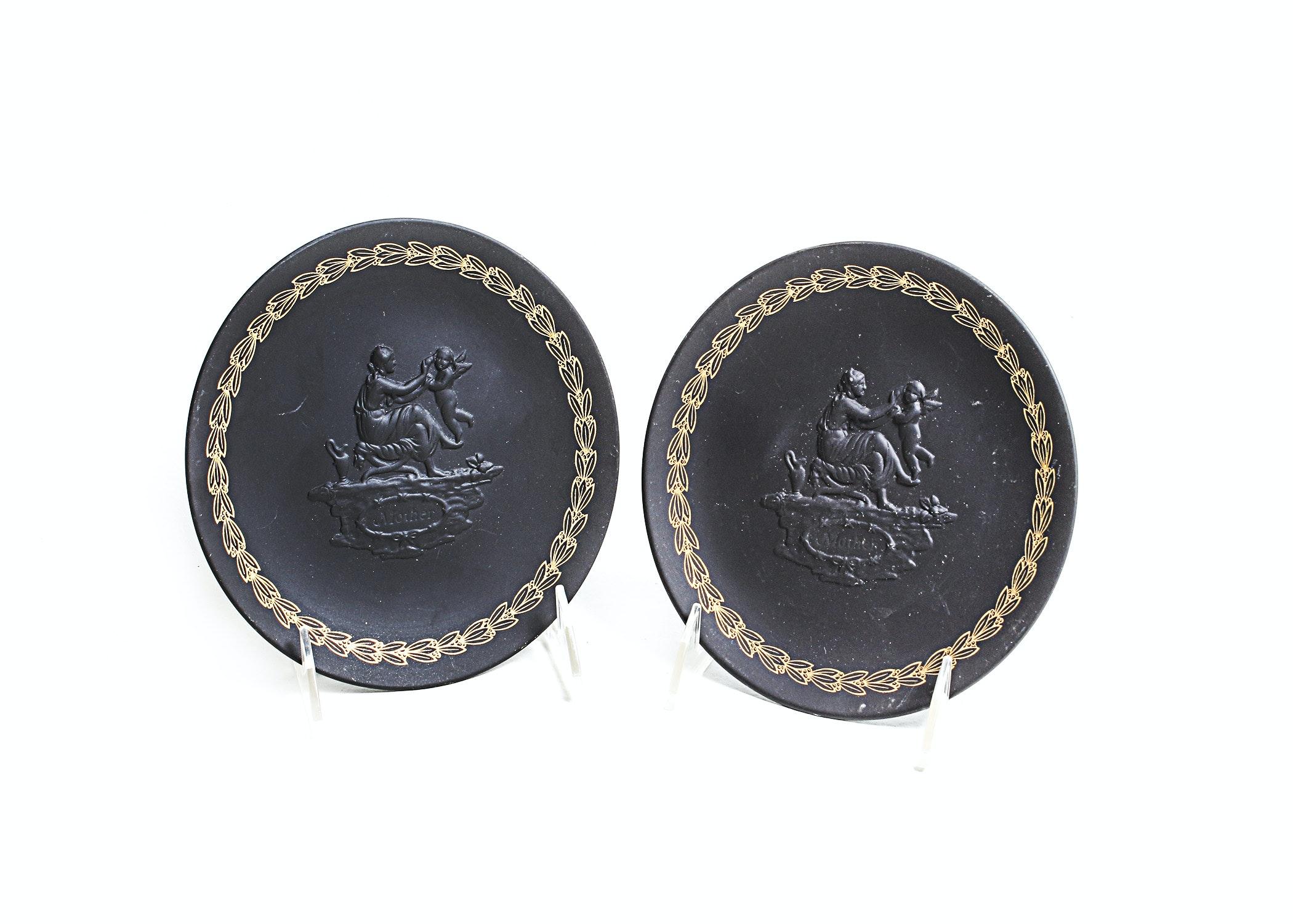 Pair of Vintage Wedgwood Black Jasperware Mother's Day Plates