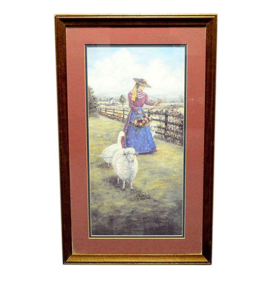 Whimsical offset lithograph by glynda turley ebth for Glynda turley painting