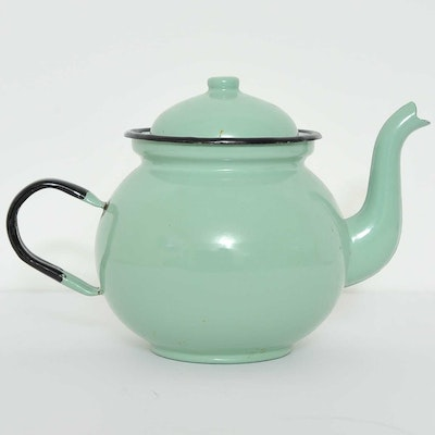 Vintage Polish Painted Metal Teapot