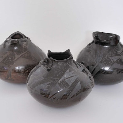 Trio of Ceramic Pots by Celia Lopez