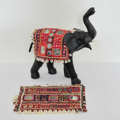 Leather Wrapped Elephant Figurine with Indian Embroideries