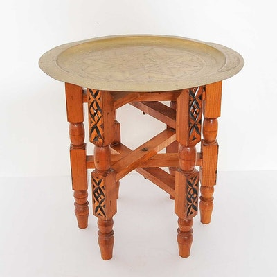 Moroccan Brass Tray Table