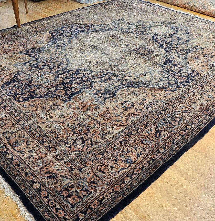 Persian Hand Woven Bakhtiari Style Wool Area Rug Ebth: Semi Antique Hand Woven Kashan-Style Area Rug : EBTH