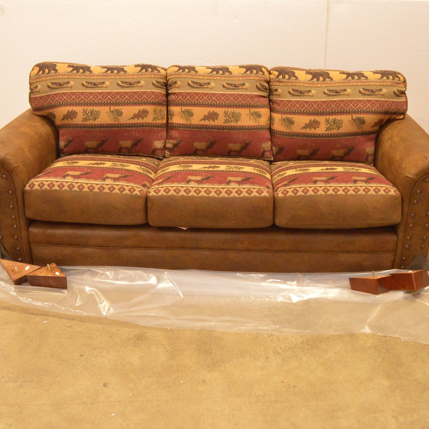 Sierra Leather Look Microfiber And Cotton Tapestry Sofa