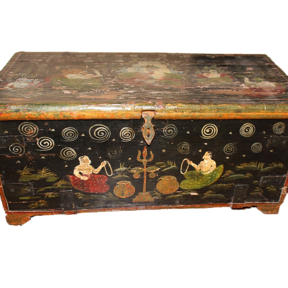 Antique Handpainted Indian Trunk