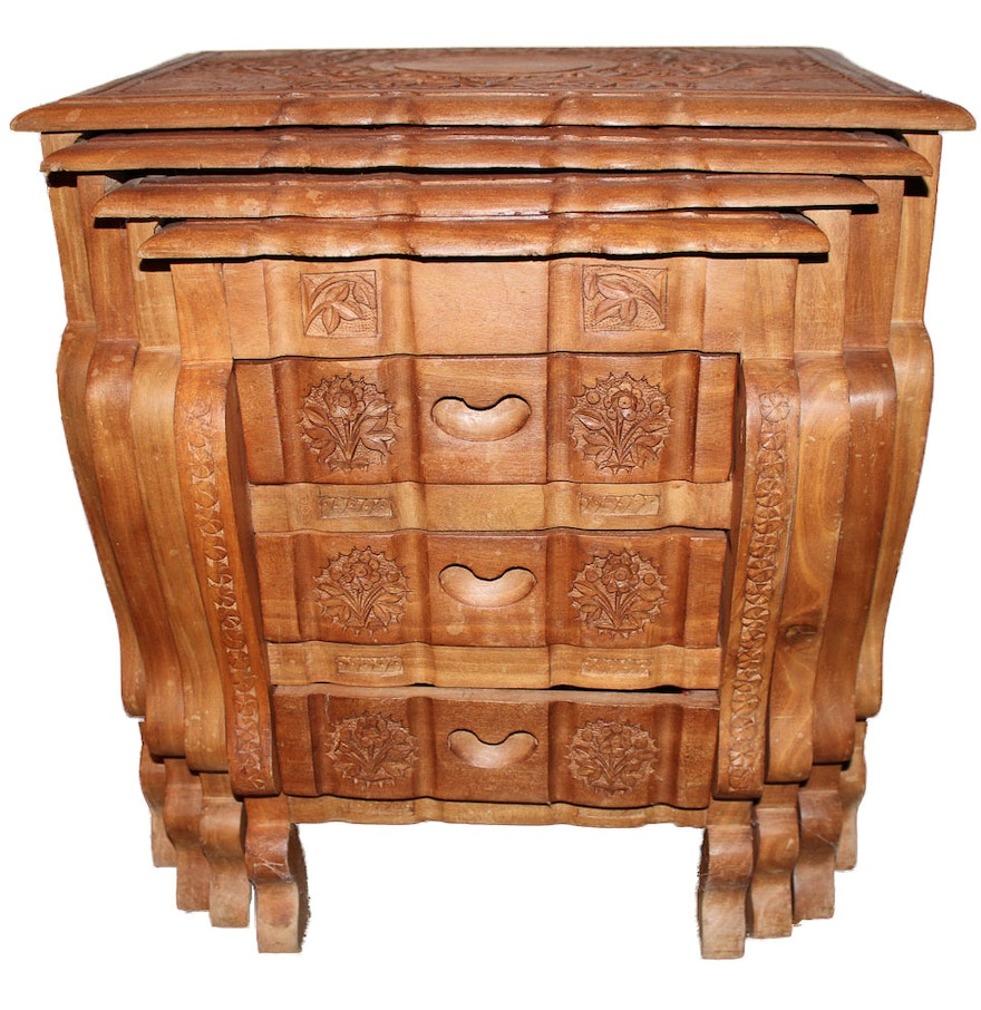 Pakistani Handcarved Wood Nesting Tables With Three Drawer Chest Ebth