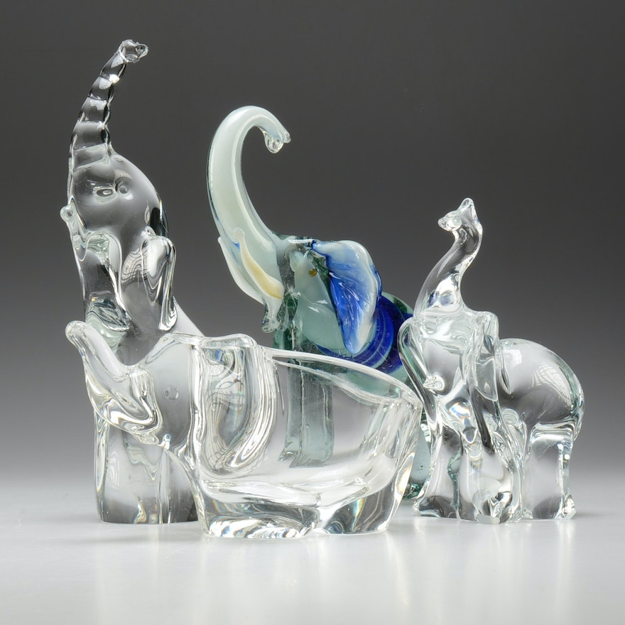Collection Of Four Crystal Elephant Figurines Ebth