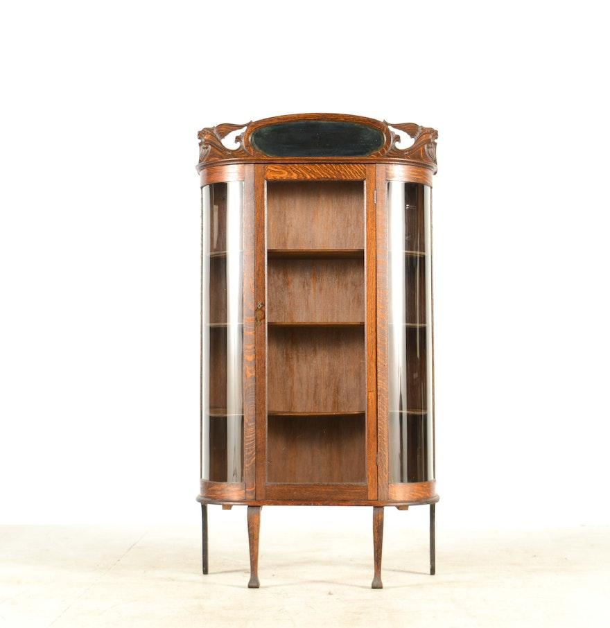 Vintage tiger oak curio cabinet ebth