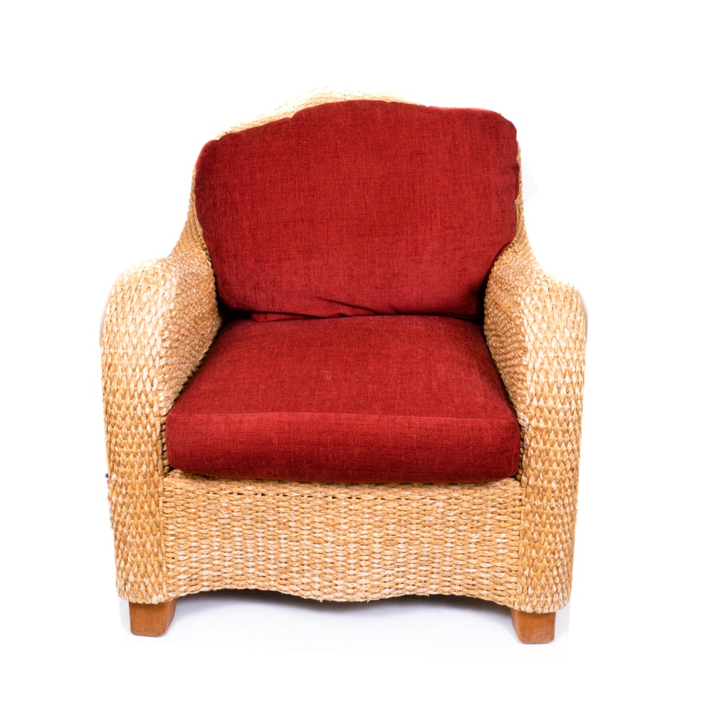 Bernhardt Wicker Chair With Red Cushions ...