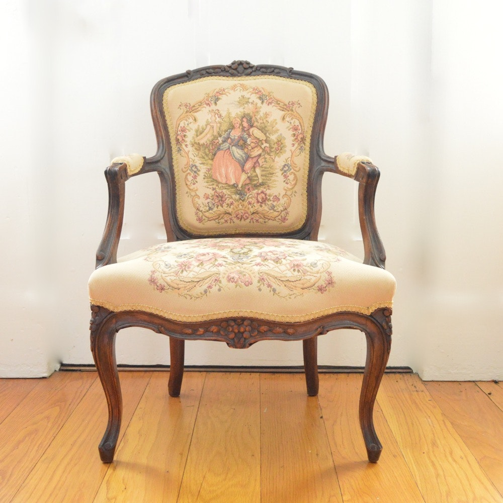 Rococo Style Tapestry Upholstered Armchair
