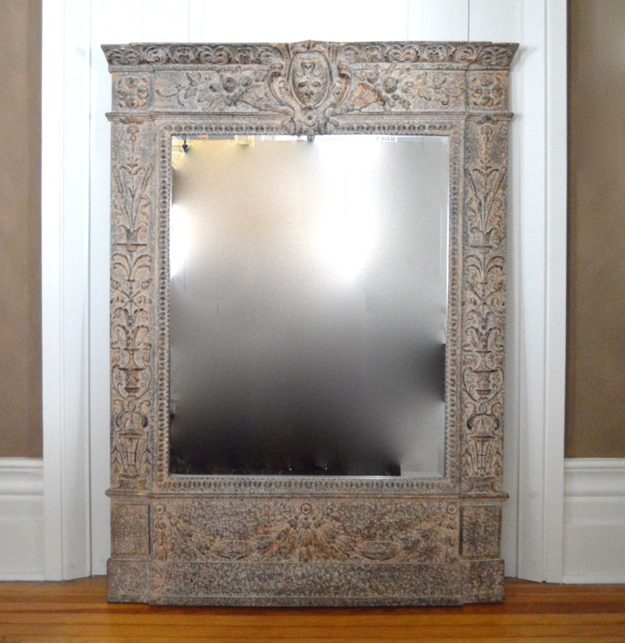 Large decorative wall mirror ebth for Large framed mirrors for walls