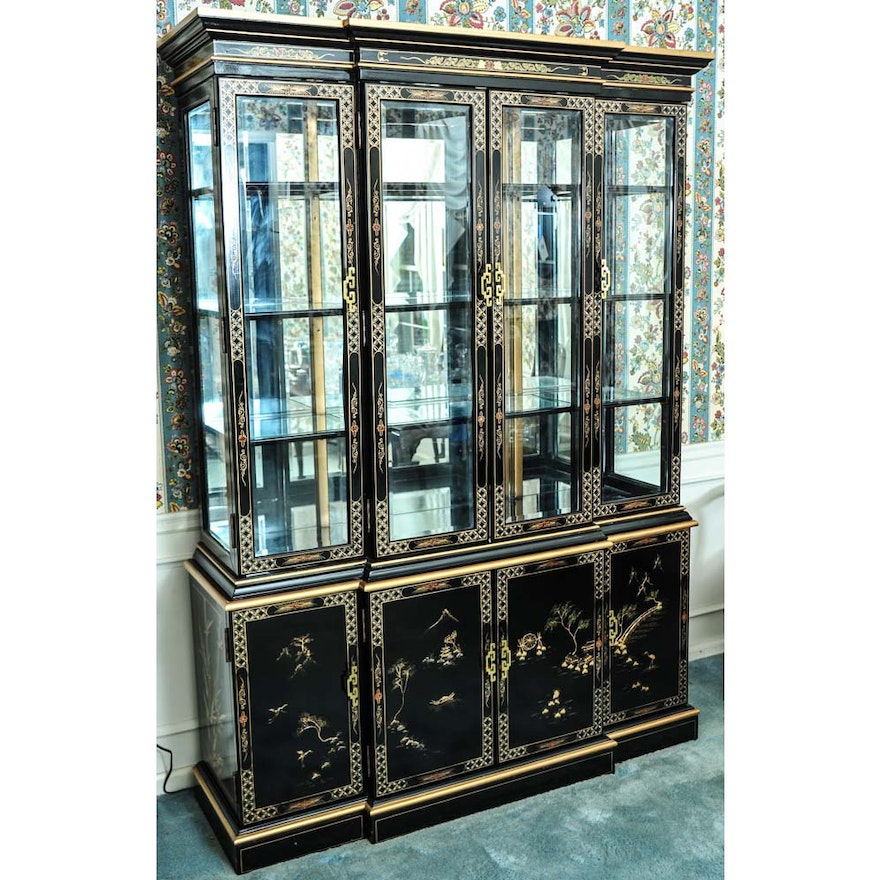 Chinoiserie Black Lacquered China Cabinet Ebth