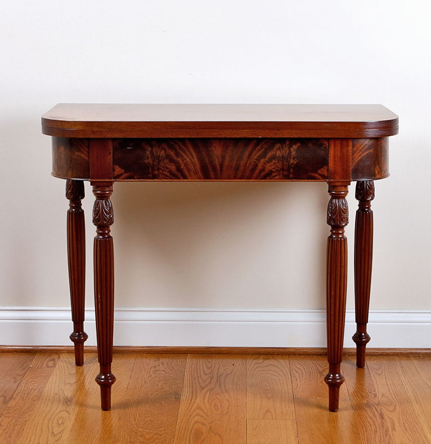 Sheraton style mahogany flip top console table ebth sheraton style mahogany flip top console table geotapseo Image collections