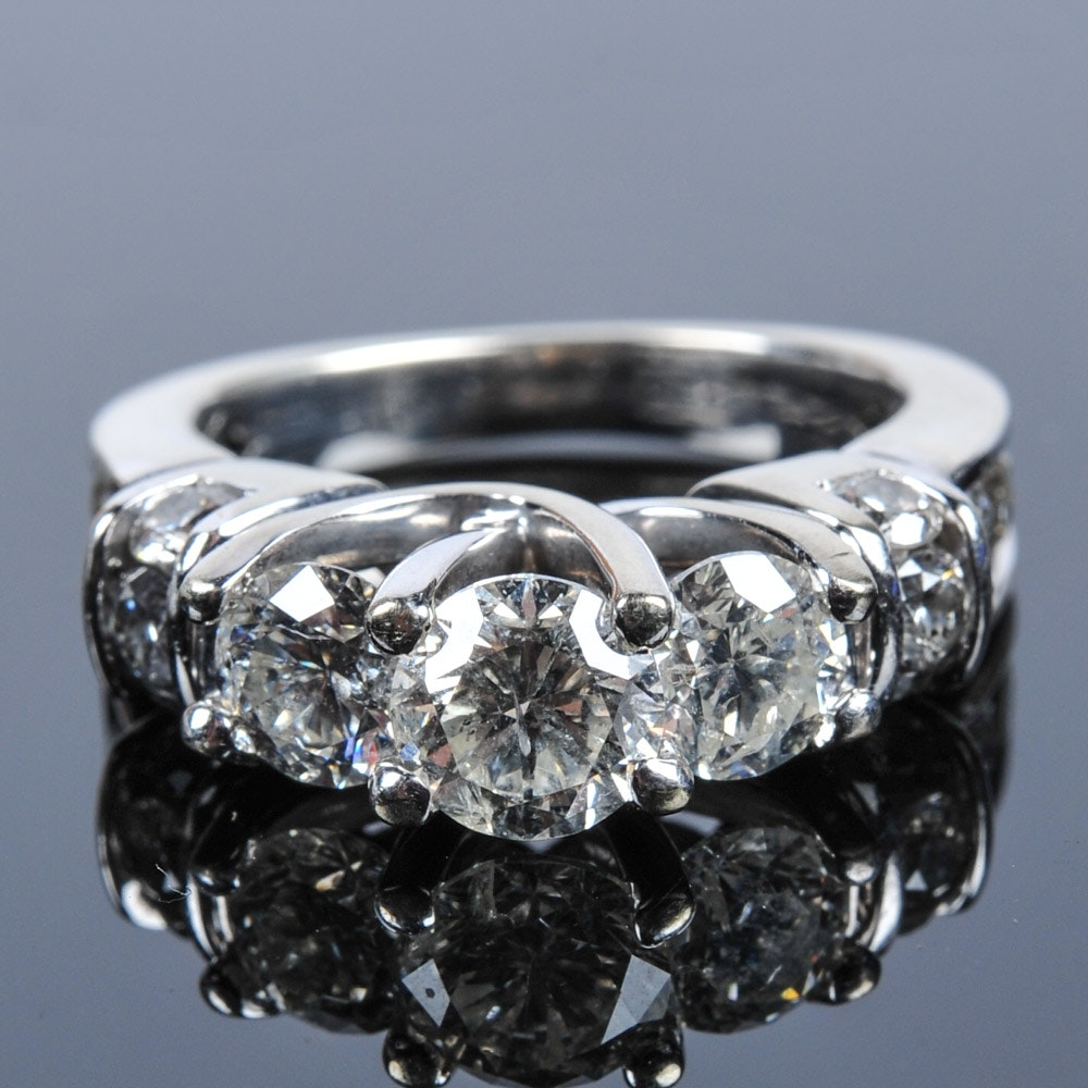 14K White Gold and 2.0CTW Diamond Ring