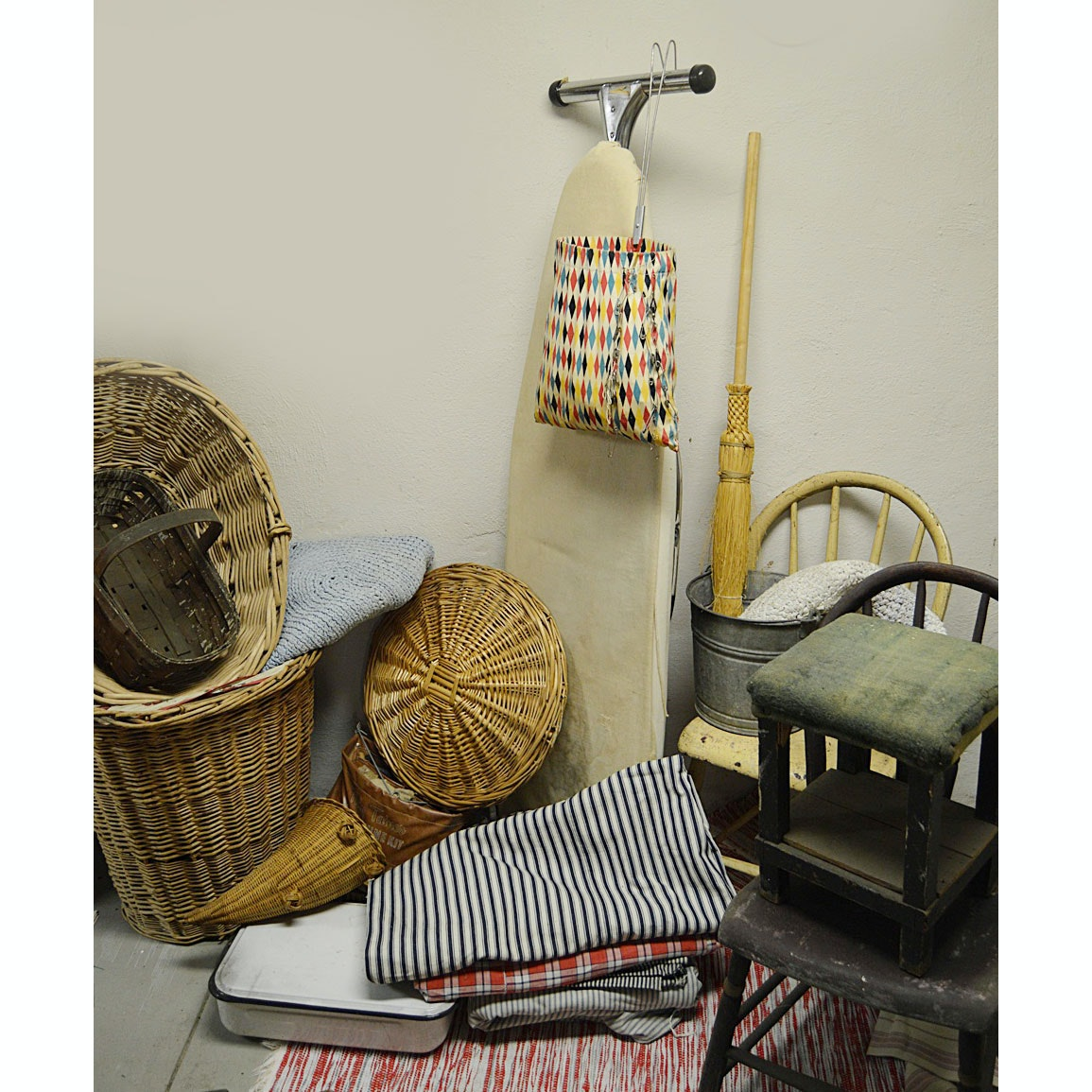 Vintage Chairs, Fabrics, Rag Rugs and Laundry Collectibles