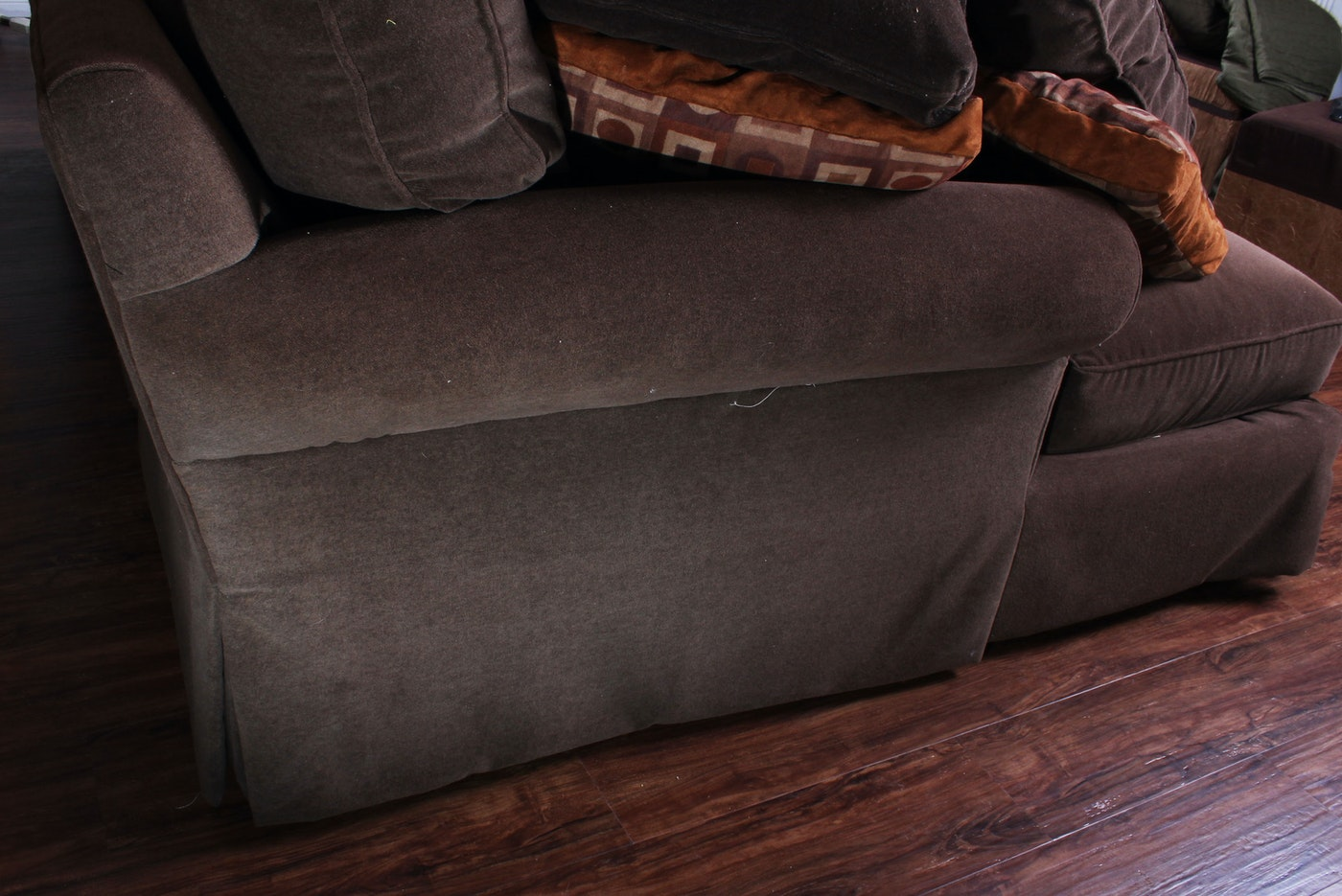 Camden plush sofa and chaise with feathered back cushions for Plush sectional sofa with chaise
