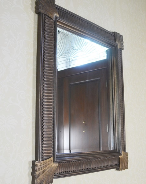Metal Foyer Table Mirror : Updated maitland smith brass iron stone entry table and