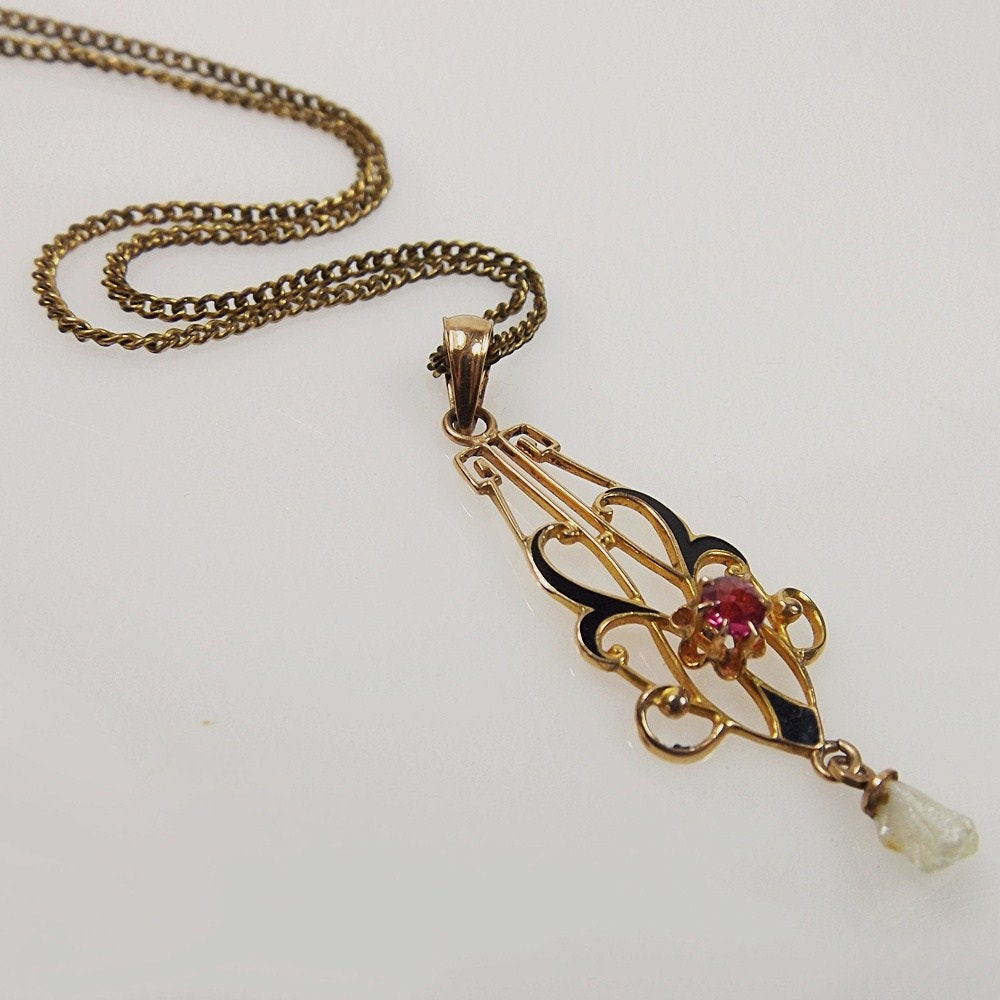 Art Nouveau 10k Rose Gold, Natural Pearl and Synthetic Ruby Pendant Necklace