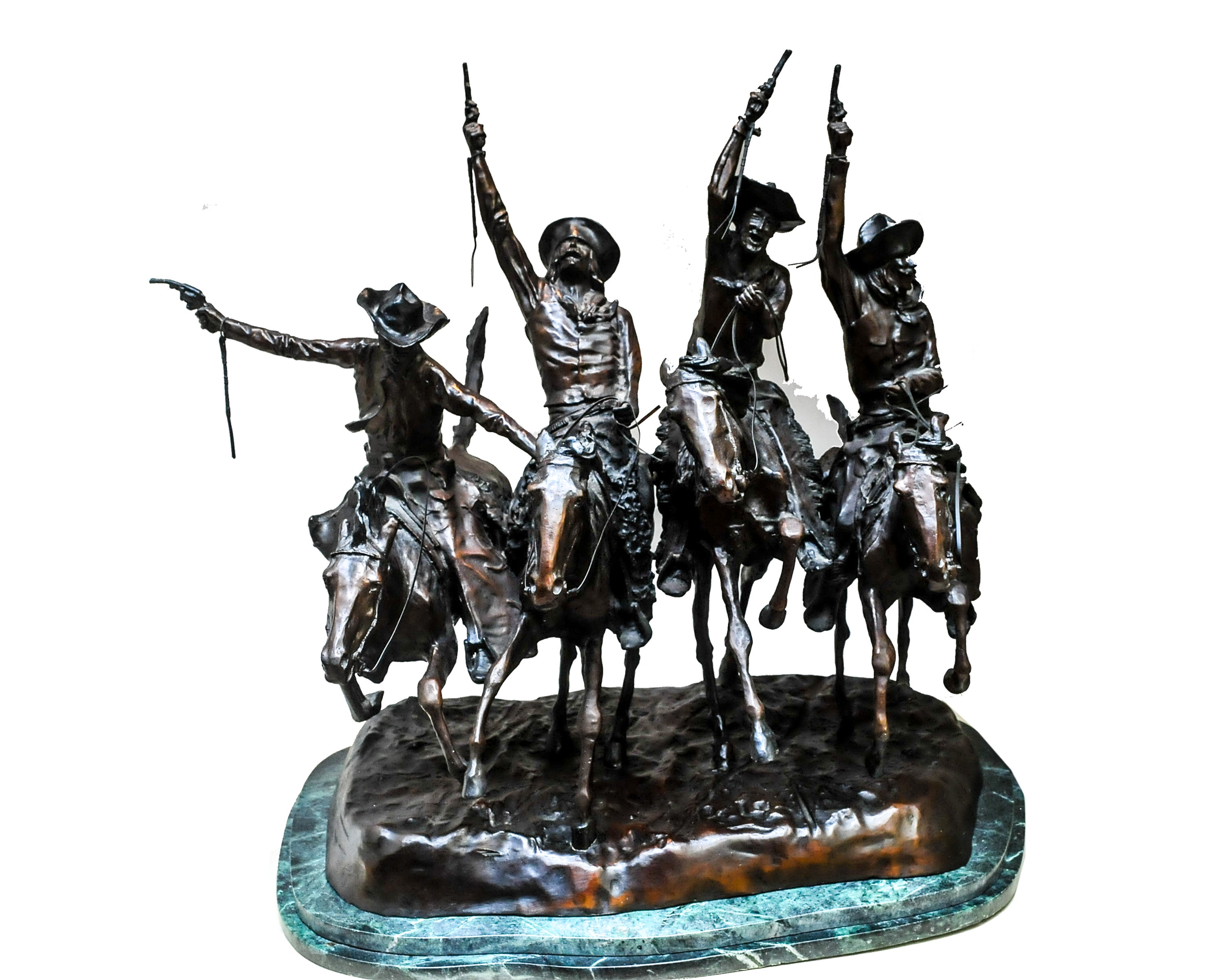 Bronze Sculpture Reproduction of Frederic Remington's Coming Through the Rye