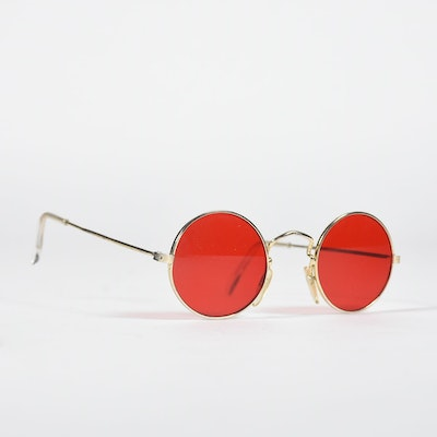 """Pair of Sunglasses with Red Lenses and Goldtone Metal Frames Tanya Wore for her """"Hangin In"""" Video"""