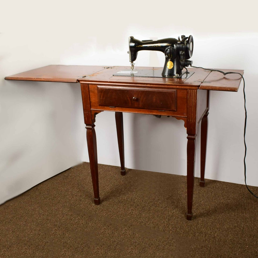 Vintage 1930s Singer Sewing Machine And Table
