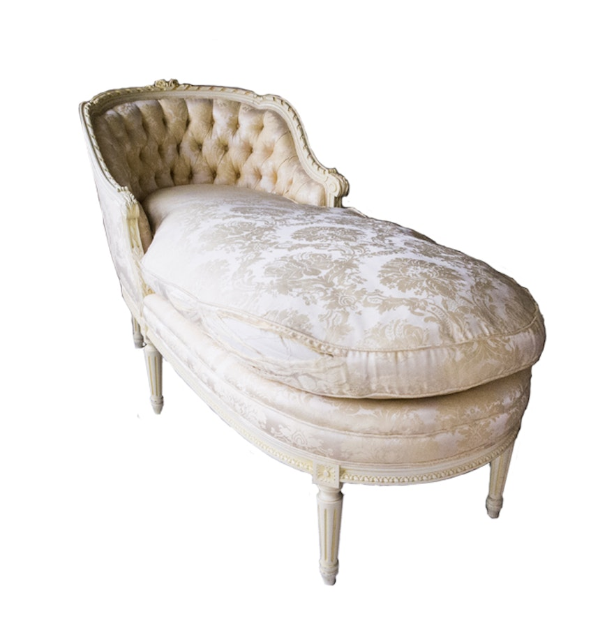 Upholstered down chaise lounge chair ebth for Chaise lounge accessories