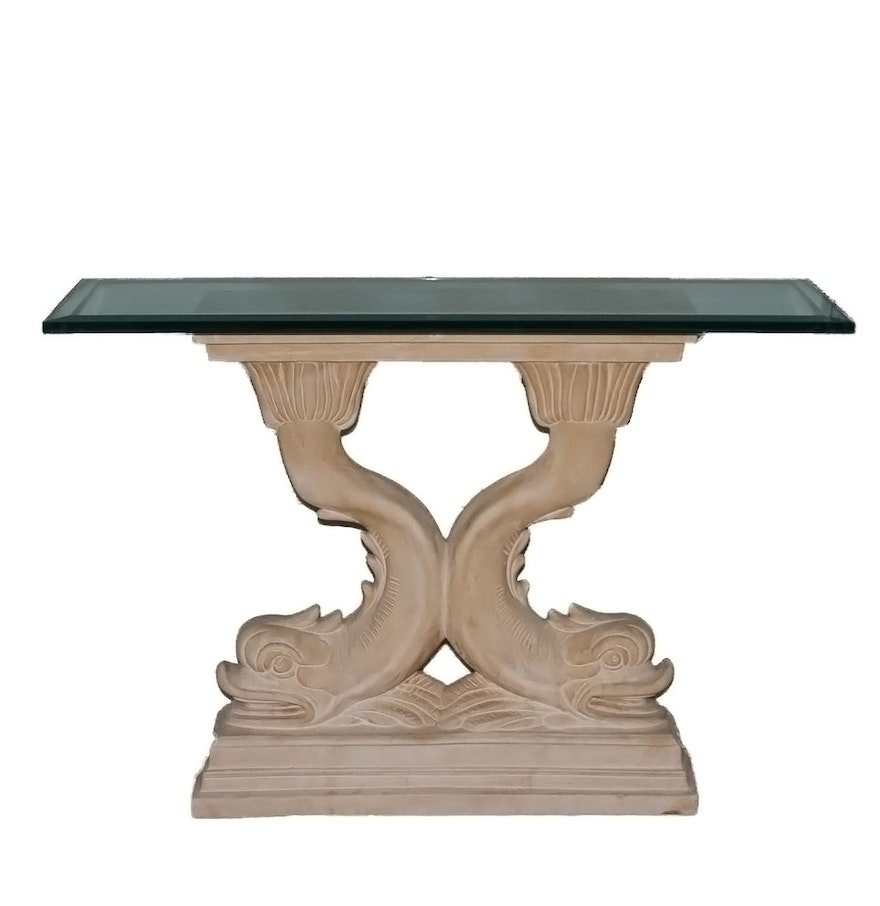 dolphin pedestal console table with glass top  ebth - dolphin pedestal console table with glass top