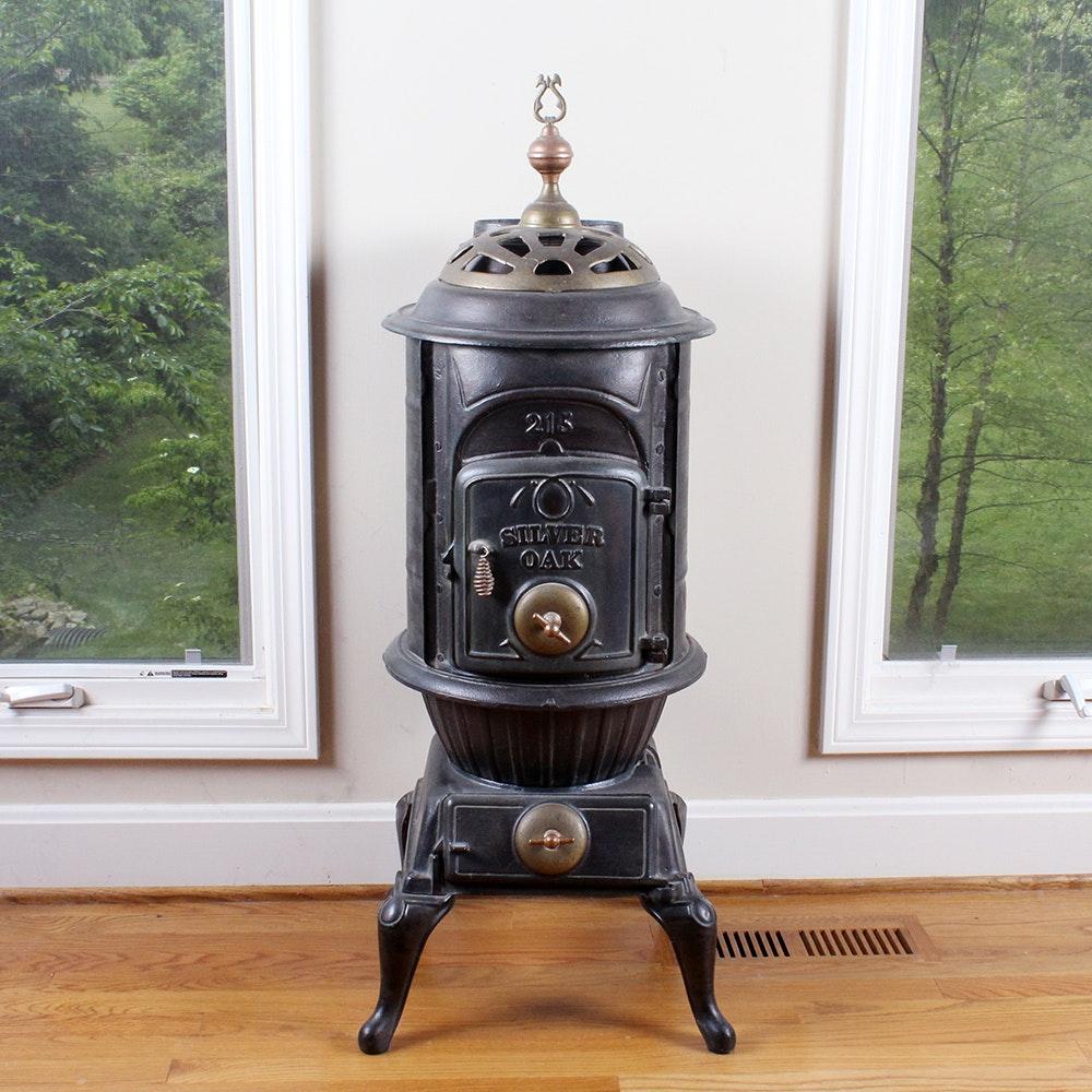 silver oak cast iron wood burning parlor stove ebth