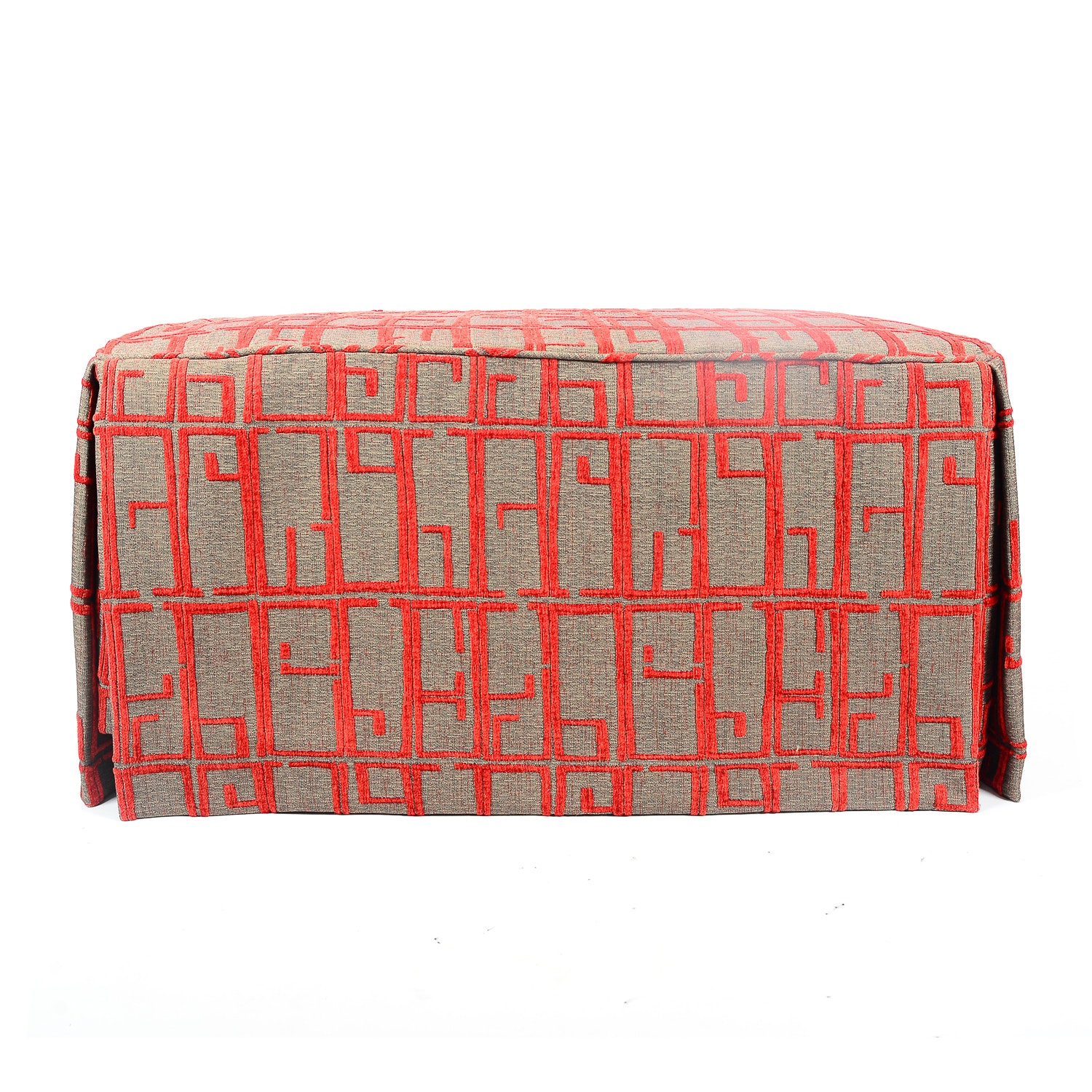 Red and Gray Slip Covered Bench Ottoman