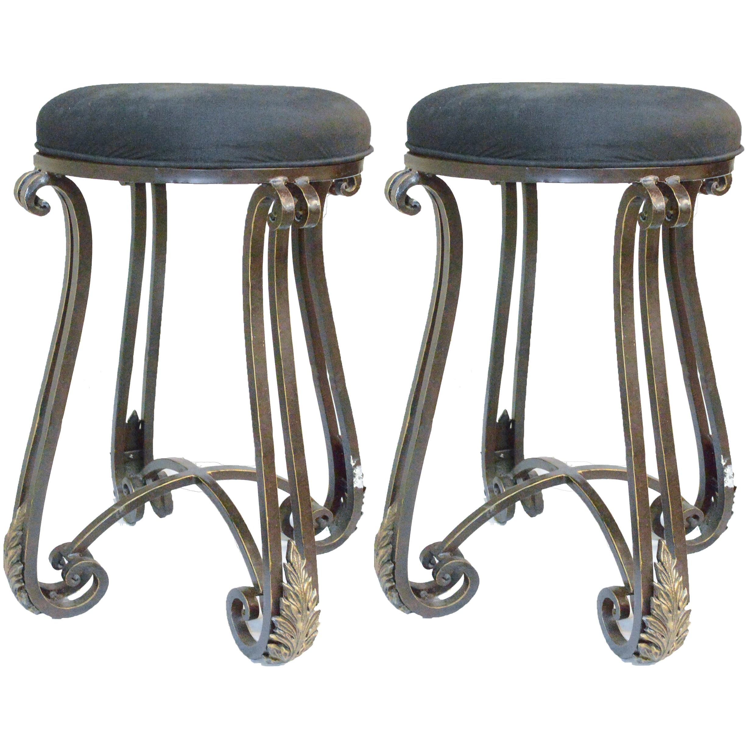 Pair of Curved Legged Cushioned Bar Stools