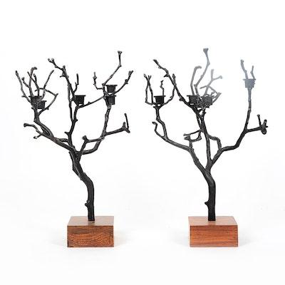 Pair of Iron Tree Motif Candelabras