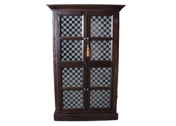 Four Door Illuminated Checkered Display Cabinet