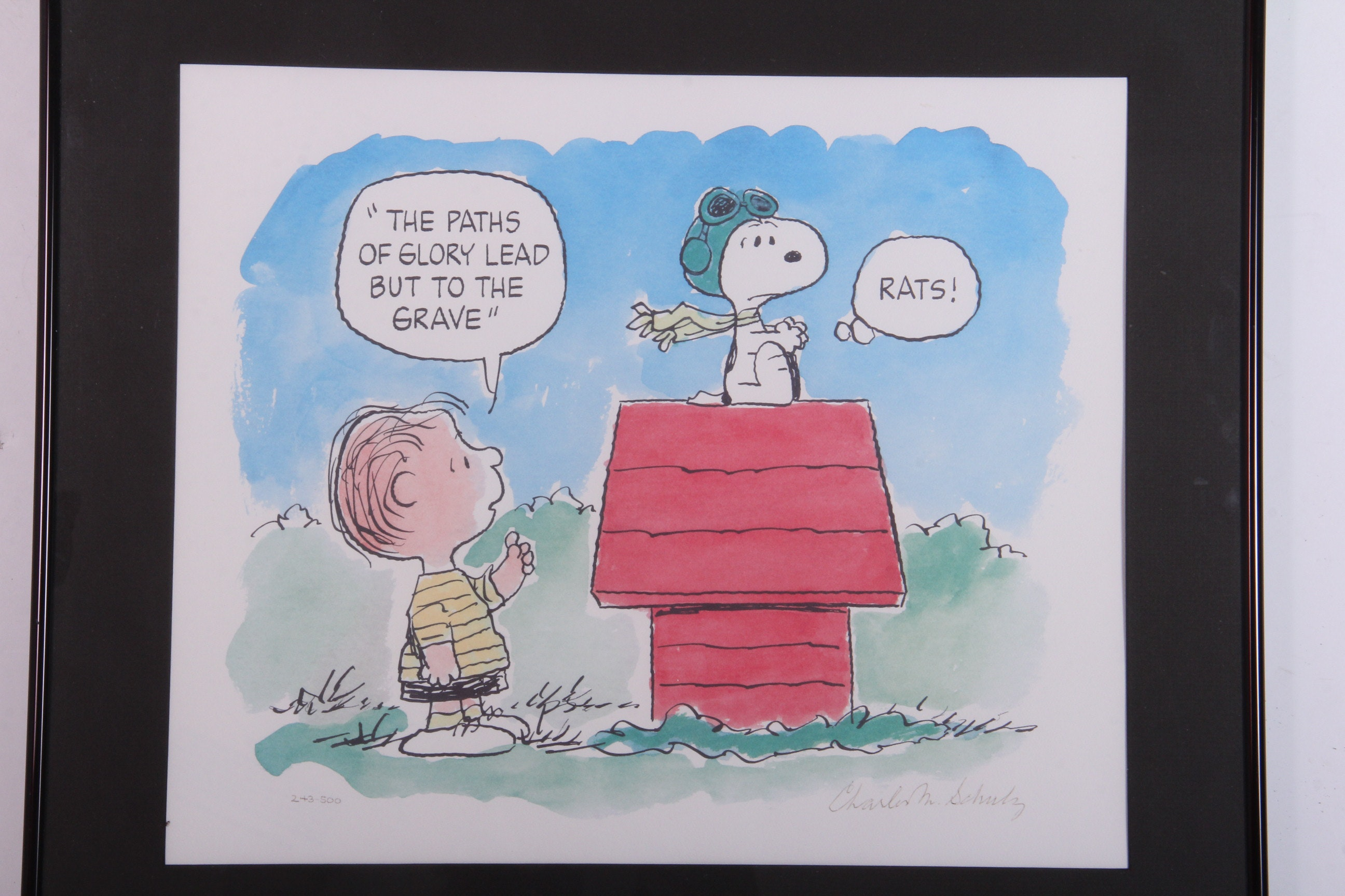 "Limited Edition Signed Charles Schulz Lithograph ""Flying Ace"""