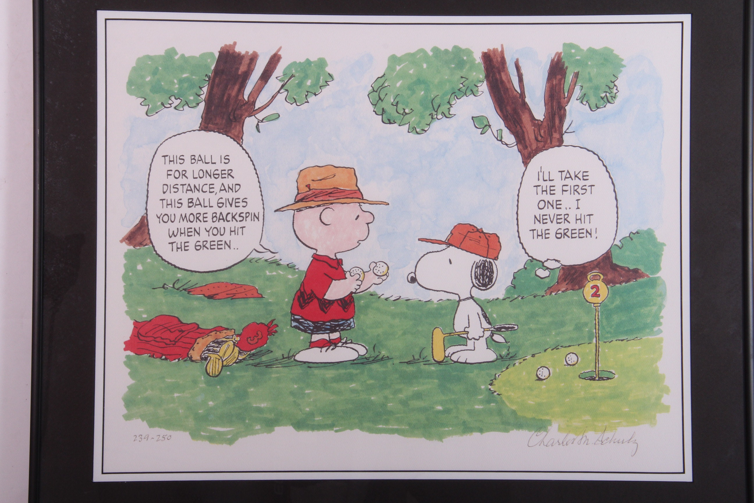 "Signed Limited Edition Charles Schulz Print ""Hitting the Green"""