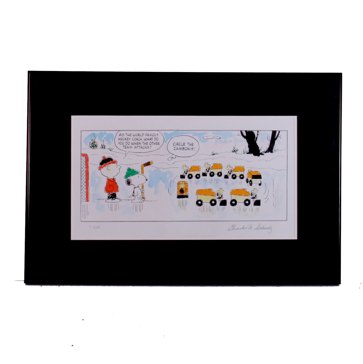"Signed Limited Edition Charles Schulz Print ""Circle the Zambonis"""
