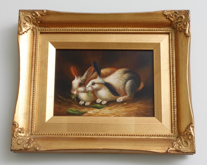 Framed Rabbit Oil Paintings