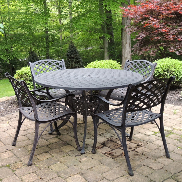 Patio Cast Aluminum Table and Chair Set