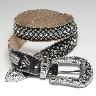 B.B. Simon Black Leather Belt Embellished with Crystal Rhinestones and Studs
