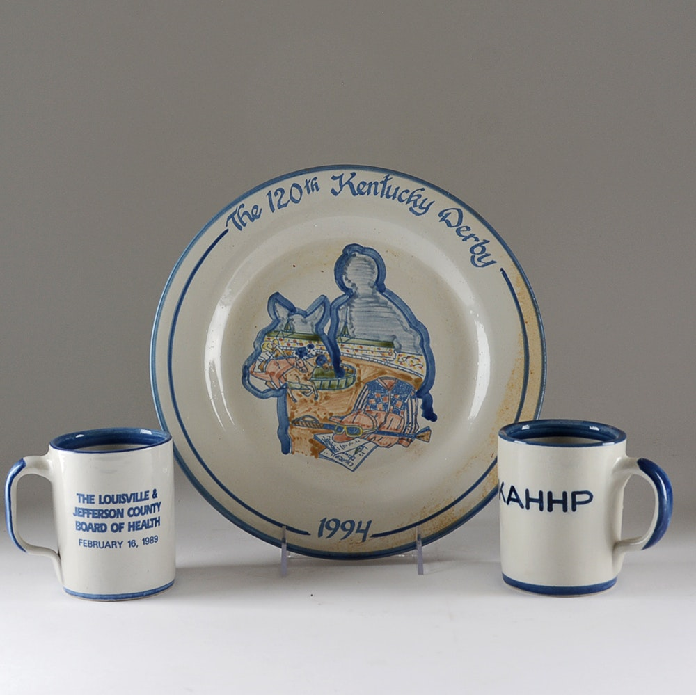 Kentucky Derby Plate and Mug Selection by Louisville Stoneware