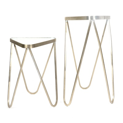 Pair of Triangular Metal and Glass Accent Tables