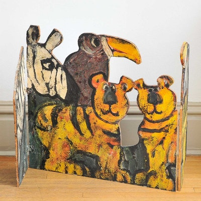 Painted Wood Animal-Themed Divider by Dan Shupe