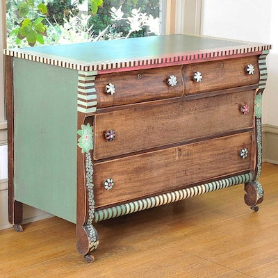 Painted Wood Chest of Drawers