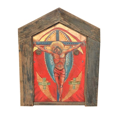 Original Warren Long Acrylic on Wood Painting of the Crucifixion