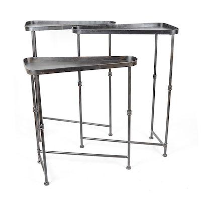 Trio of Triangular Metal Nesting Tables