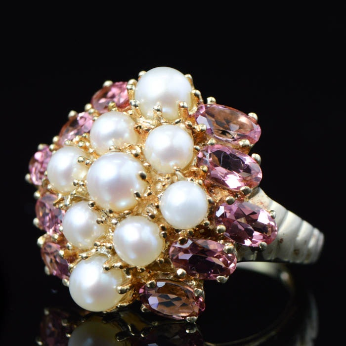 10K Yellow Gold Pink Tourmaline and Pearl Cocktail Ring